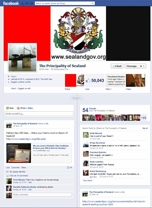 Sealand Facebook page reaches 50,000 Likes