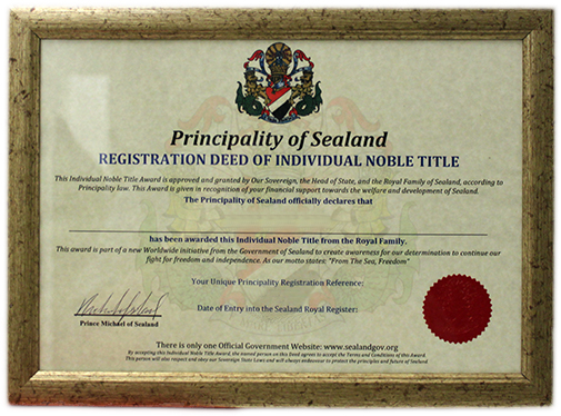 Sealand lord title